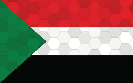 Sudan flag illustration. Futuristic Sudanese flag graphic with abstract hexagon background vector. Sudan national flag symbolizes independence.