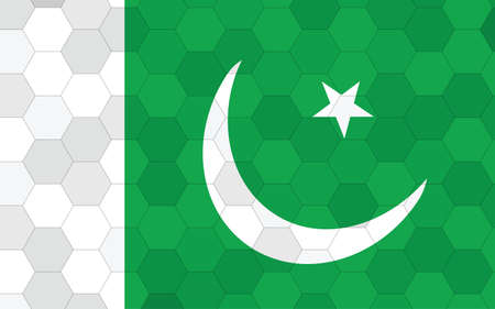 Pakistan flag illustration. Futuristic Pakistani flag graphic with abstract hexagon background vector. Pakistan national flag symbolizes independence.