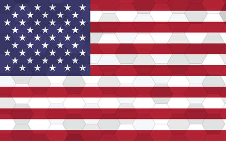 USA flag illustration. Futuristic American flag graphic with abstract hexagon background vector. USA national flag symbolizes independence.