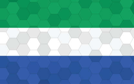 Sierra Leone flag illustration. Futuristic Sierra Leonean flag graphic with abstract hexagon background vector. Sierra Leone national flag symbolizes independence.