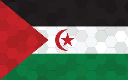 Western Sahara flag illustration. Futuristic Saharan flag graphic with abstract hexagon background vector. Western Sahara national flag symbolizes independence.