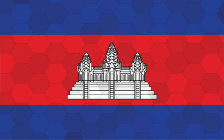 Cambodia flag illustration. Futuristic Cambodian flag graphic with abstract hexagon background vector. Cambodia national flag symbolizes independence.