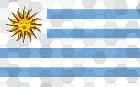 Uruguay flag illustration. Futuristic Uruguayan flag graphic with abstract hexagon background vector. Uruguay national flag symbolizes independence.