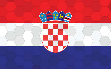 Croatia flag illustration. Futuristic Croatian flag graphic with abstract hexagon background vector. Croatia national flag symbolizes independence.
