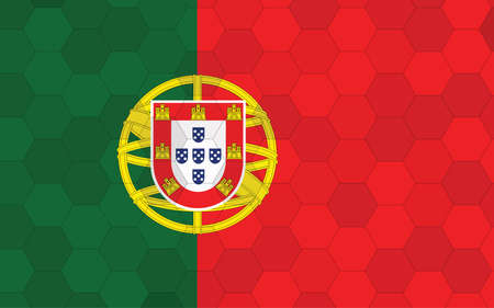 Portugal flag illustration. Futuristic Portugese flag graphic with abstract hexagon background vector. Portugal national flag symbolizes independence.