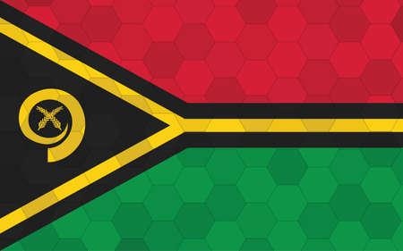 Vanuatu flag illustration. Futuristic ni-Vanuatu flag graphic with abstract hexagon background vector. Vanuatu national flag symbolizes independence.