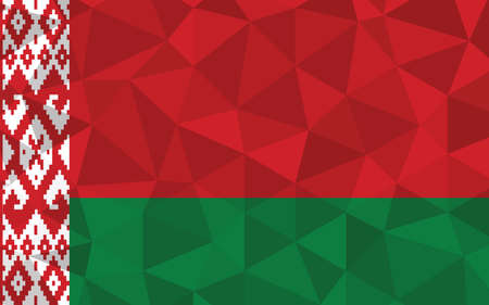 Low poly Belarus flag vector illustration. Triangular Belarusian flag graphic. Belarus country flag is a symbol of independence.