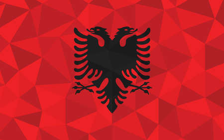 Low poly Albania flag vector illustration. Triangular Albanian flag graphic. Albania country flag is a symbol of independence. 矢量图像