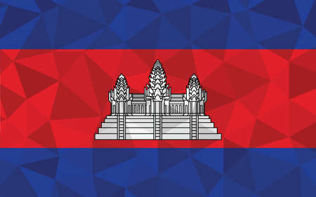 Low poly Cambodia flag vector illustration. Triangular Cambodian flag graphic. Cambodia country flag is a symbol of independence.