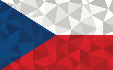 Low poly Czechia flag vector illustration. Triangular Czech flag graphic. Czechia country flag is a symbol of independence.