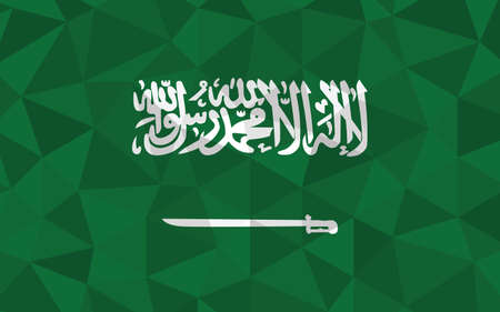 Low poly Saudi Arabia flag vector illustration. Triangular Saudi Arabian flag graphic. Saudi Arabia country flag is a symbol of independence. Vettoriali