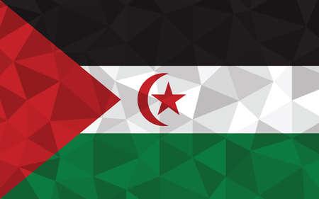 Low poly Western Sahara flag vector illustration. Triangular Saharan flag graphic. Western Sahara country flag is a symbol of independence.