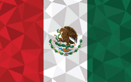 Low poly Mexico flag vector illustration. Triangular Mexican flag graphic. Mexico country flag is a symbol of independence. 矢量图像