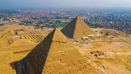 Historical Giza pyramids in Egypt shot by drone.