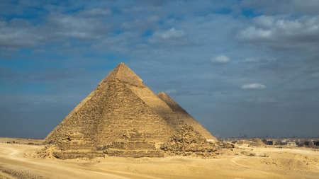 Landscape View of Giza pyramids . historical egypt pyramids.