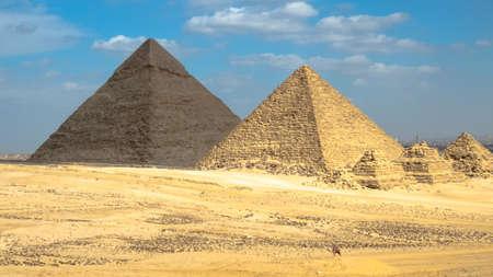 Landscape View of Giza pyramids . historical egypt pyramids. Stockfoto