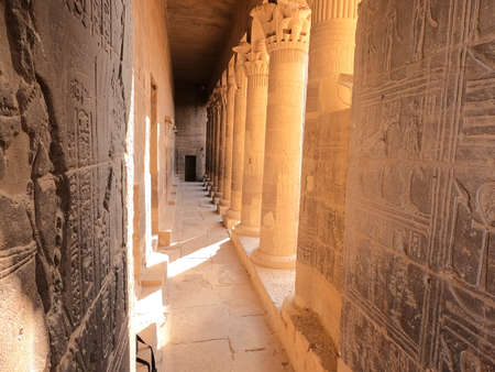 The temple complex on the island of Philae on the Nile,Philae temple, Aswan, Egypt 스톡 콘텐츠