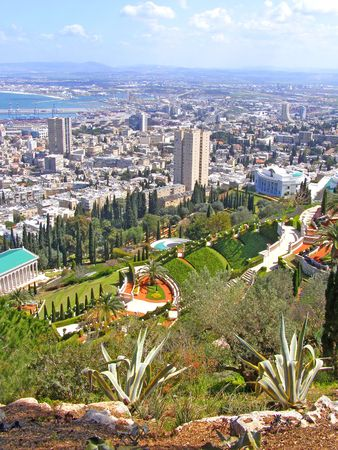 View on the Bahai gardens, port and Haifa, Israel photo