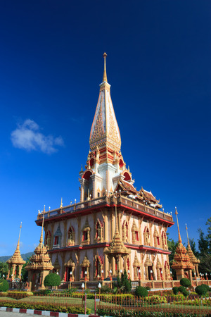 chalong: Pagoda in Wat Chalong Thai temple, Phuket, Thailand Stock Photo