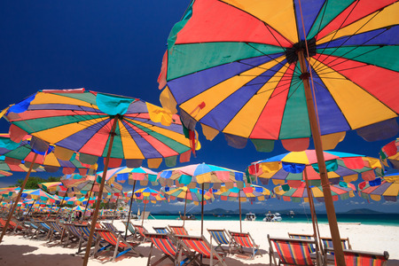 Beach chairs and parasol on Koh Khai island. Phuket, Thailand. Reklamní fotografie