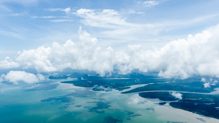 river view: Birds eye view over the sea and island in the south of Thailand. Stock Photo