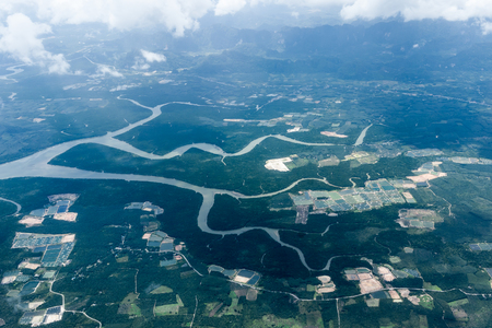 arial views: Birds eye view over the river in the south of Thailand. Stock Photo