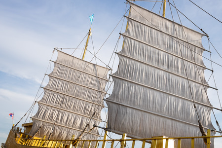 barque: Barque with white sails. Stock Photo