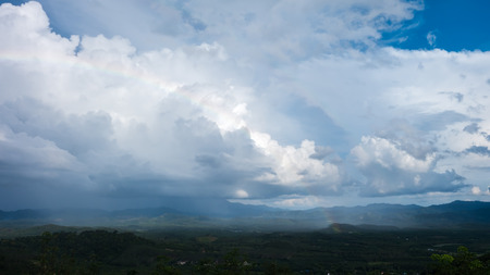 stormy clouds: Mountain and sky with stormy clouds.