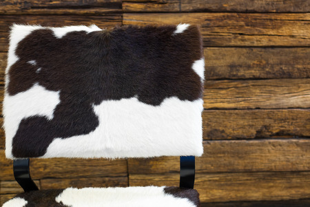 cow skin: Cow skin chair  and old wood wall background.