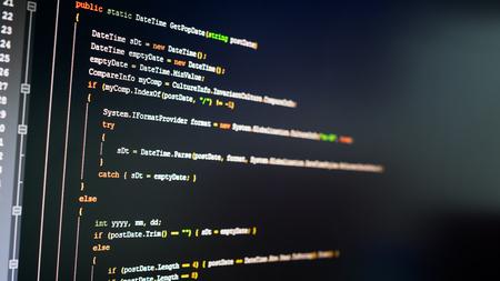 source: C# computer language source code on computer monitor. Stock Photo