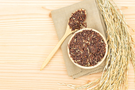 Germinated brown rice on wooden table background., GABA rice.