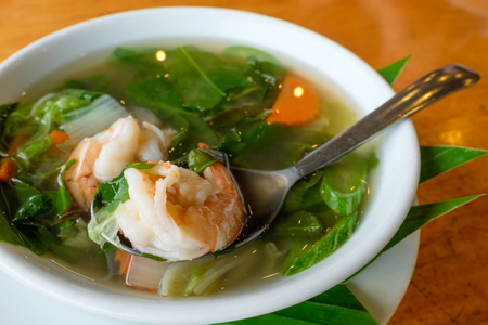 Spicy Mixed Vegetable Soup with Prawns (Kaeng Liang Goong Sod). Thai food.