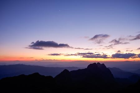 Sunset at Doi Luang Chiang Dao Mountain, Chiang Mai Province, Thailand.