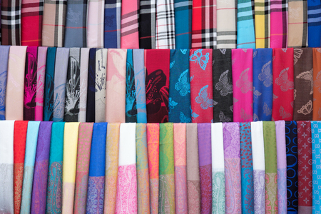 Colorful textile (neckwear) for sale at Hoi An, Vietnam. Stock Photo