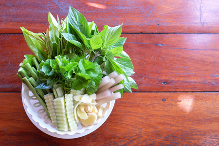 Fresh vegetables in plate, Thai southern style. Stock Photo
