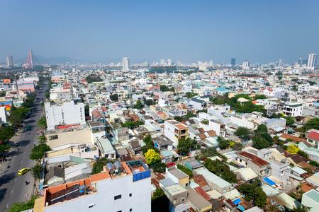 DANANG, VIETNAM - MARCH 5, 2017 : DaNang city with Cable-stayed bridge ( Tran Thi Ly Bridge) and Dragon River Bridge (Rong Bridge), DaNang, Vietnam. Editorial