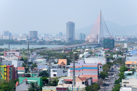 DANANG, VIETNAM - MARCH 5, 2017 : DaNang city with Cable-stayed bridge ( Tran Thi Ly Bridge), DaNang, Vietnam.