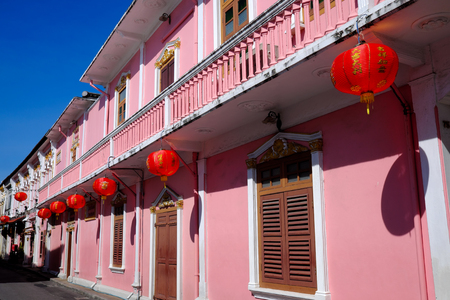 PHUKET, THAILAND - MARCH 01, 2018: Sino-Portuguese Architecture in Phuket old town. Thailand.
