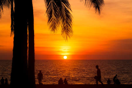 Beautiful sunset time at Surin Beach, Phuket Island, Thailand. Imagens