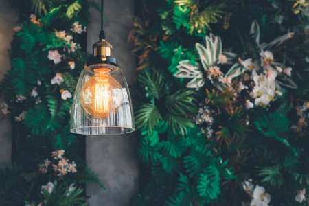 Decoration antique Edison retro lamp incandescent bulbs on on a green blurred background. Imagens - 166065103
