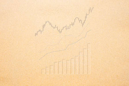 Bar chart, candle stick graph and uptrend line graph  on sand beach background, growth in business. Imagens - 166065283