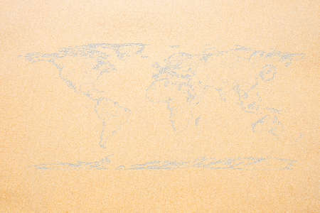World map on sand texture surface use for background.