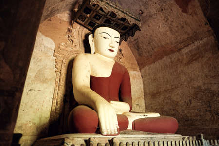 Buddha statue at the temple in Bagan, Myanmar.