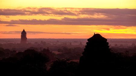 Group of old Bagan pagodas or pagodas field in Myanmar at sunrise. Bagan, Myanmar.