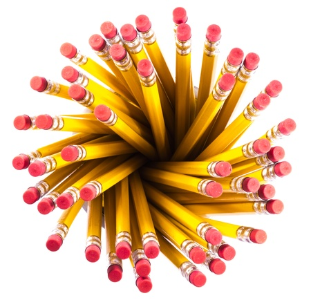 View from above a group of pencils on white background