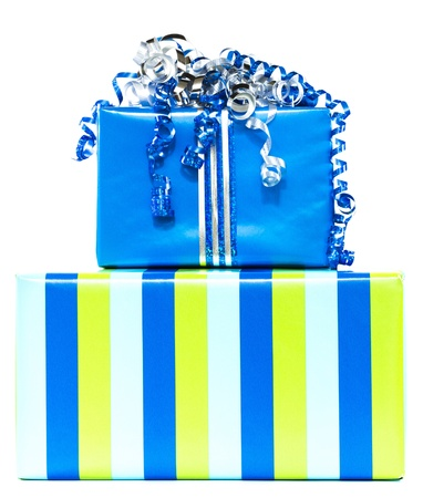 Two blue and striped stacked gifts with blue and silver ribbons on white background Stock Photo - 16693331
