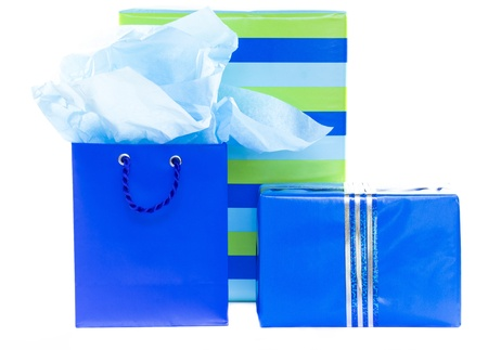 Group of blue and striped presents and gift bag photo