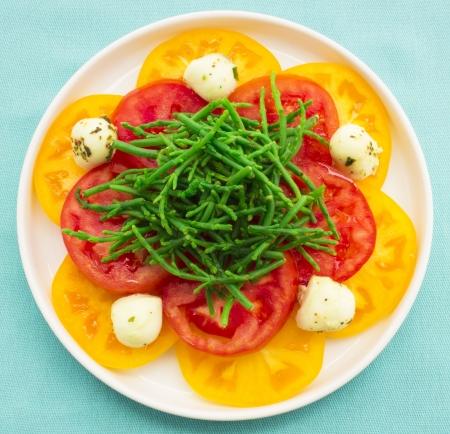 Heirloom tomatoes with Hawaiian sea asparagus and marinated bocconcini mozzarella Stock Photo - 17020993
