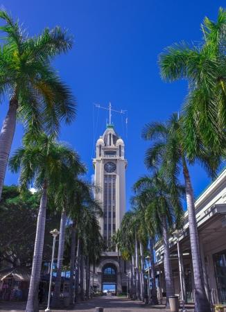Aloha Tower in Honolulu, Oahu, Hawaii Stock Photo