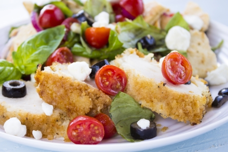 Salad with pita bread, cherry tomatoes, basil, red onion and kalamata olives served with breaded chicken and feta cheese Stock Photo - 18287398